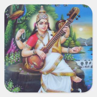 Saraswatiのステッカー-バージョン3 スクエアシール