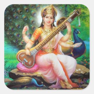 Saraswatiのステッカー-版1 スクエアシール