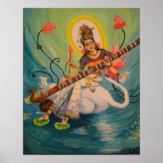 Saraswatiの絵画 ポスター