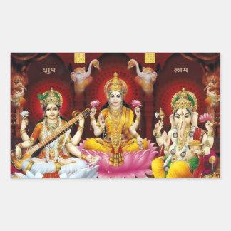 Saraswati、Lakshmi、及びGaneshaのステッカー 長方形シール