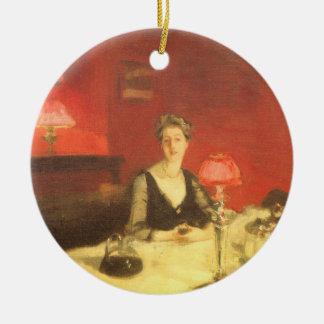 Sargent著夜、ビクトリアンな芸術の食卓 セラミックオーナメント