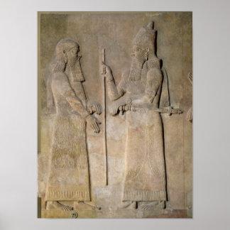 Sargon IIおよび宰相を描写するレリーフ、浮き彫り プリント