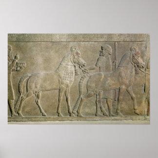 Sargon IIの支流を描写するレリーフ、浮き彫り ポスター
