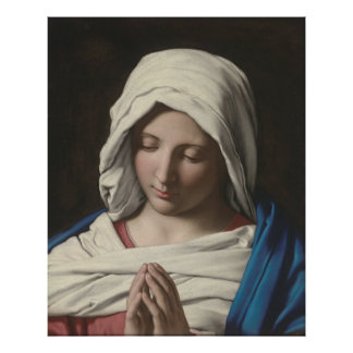Sassoferrato -祈りの言葉のマドンナ ポスター