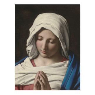 Sassoferrato -祈りの言葉のマドンナ ポストカード