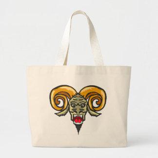 Satanの角状の獣のスケッチ ラージトートバッグ