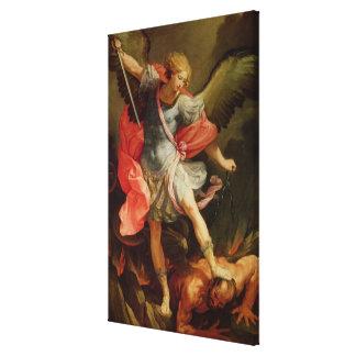Satanを敗北させている大天使ミハエル キャンバスプリント