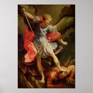 Satanを敗北させている大天使ミハエル ポスター