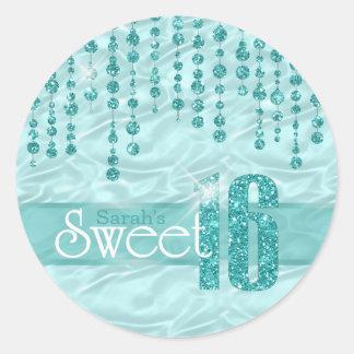 Satin Jewel Sweet Sixteen Teal ID260 ラウンドシール