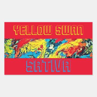 SATIVA黄色い白鳥 長方形シール