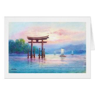 Satta宮島Toriiおよびヨットの日本人の芸術 カード