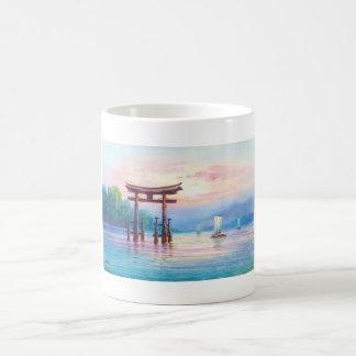 Satta宮島Toriiおよびヨットの日本人の芸術 コーヒーマグカップ