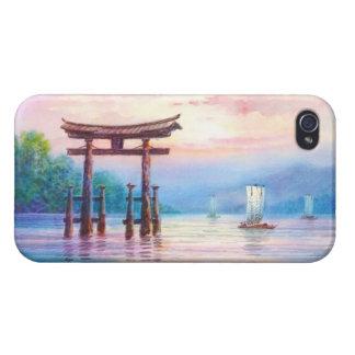 Satta宮島Toriiおよびヨットの日本人の芸術 iPhone 4/4S Case