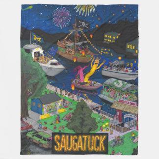 Saugatuck (夜)のフリースブランケット フリースブランケット