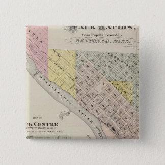 Saukの急流の地図、Saukの中心、ミネソタの地図 5.1cm 正方形バッジ