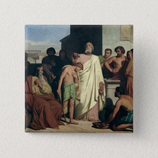 Saul著デイヴィッドの塗ること、1842年 5.1cm 正方形バッジ