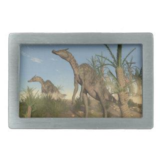 Saurolophusの恐竜- 3Dは描写します 長方形ベルトバックル