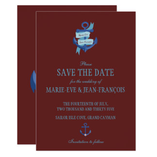 Save the Date Elegant Nautical Anchor カード