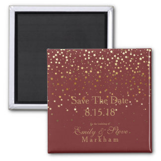 Save The Date Petite Golden Stars Magnet-BRGNDY マグネット