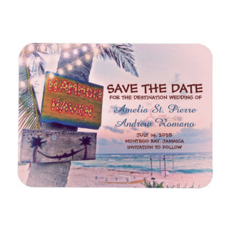 Save the Date Romantic String Light Beach Wedding マグネット