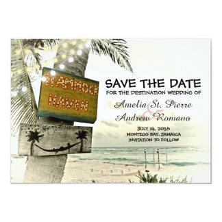 Save the Date Vintage Romantic Beach Destination カード