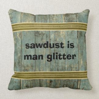 Sawdust Man Glitter Rugged Planks Throw Pillow クッション