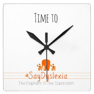 #SayDyslexiaの正方形の柱時計への時間 スクエア壁時計