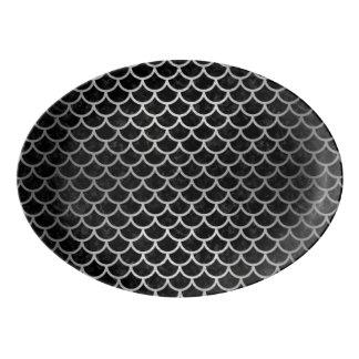 SCA1 BKの大理石の銀 磁器大皿