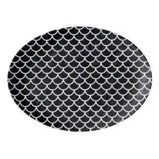 SCALES1黒い大理石及び白い大理石 磁器大皿