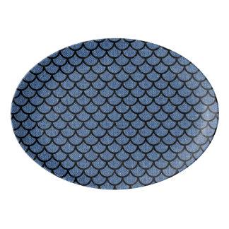 SCALES1黒い大理石及び青いデニム(R) 磁器大皿