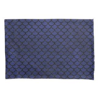 SCALES1黒い大理石及び青い革(R) 枕カバー