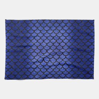 SCALES1黒い大理石及び青は金属(R)にブラシをかけました キッチンタオル