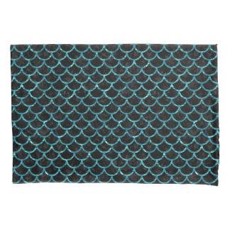 SCALES1黒い大理石及び青緑色水 枕カバー