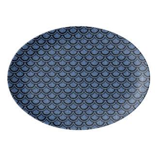 SCALES2黒い大理石及び青いデニム(R) 磁器大皿