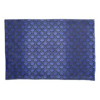 SCALES2黒い大理石及び青は金属(R)にブラシをかけました 枕カバー