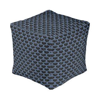 SCALES3黒い大理石及び青いデニム プーフ