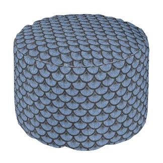 SCALES3黒い大理石及び青いデニム(R) プーフ