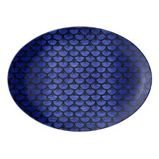 SCALES3黒い大理石及び青は金属(R)にブラシをかけました 磁器大皿