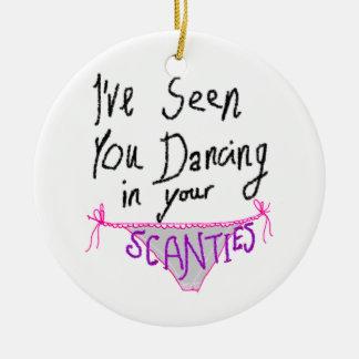 Scantiesのかわいく及びおもしろいな手書きのロゴで踊ること セラミックオーナメント