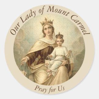 Scapularカルメル山のベビーイエス・キリストの私達の女性 丸形シールステッカー