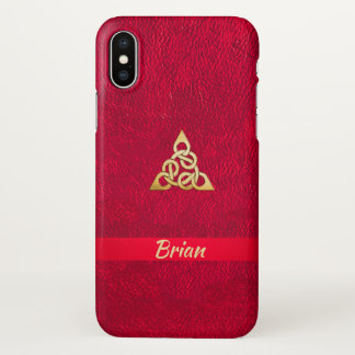 Scarlett Leather Gold Celtic Knot  iPhone X Case iPhone X ケース