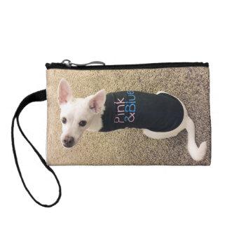 ScaryFace犬が付いているピンク及び青い硬貨の財布 コインパース