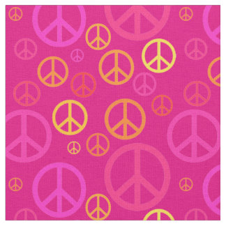 Scattered Peace Signs Pink SPST ファブリック