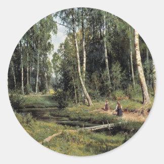 SchischkinイワンIwanow著樺の木の森林のBach 丸形シール・ステッカー