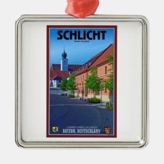 Schlicht - Marktplatz シルバーカラー正方形オーナメント