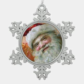 Schmucker: サンタクロース スノーフレークピューターオーナメント