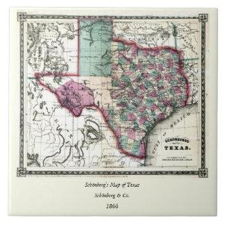 Schönberg及びCo.によるテキサス州の1866人の好古家の地図 タイル