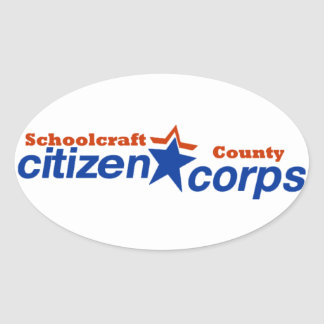 Schoolcraft郡の市民隊のステッカー 楕円形シール