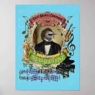 Schubert Spoof Parody Schubird Funny Bird Composer ポスター