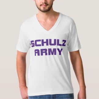 Schulzの軍隊のアメリカの服装の人の白いV首T- Tシャツ